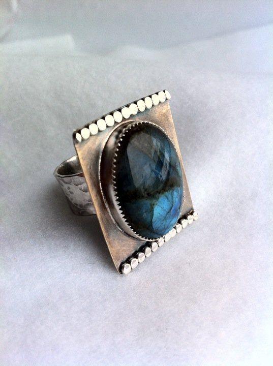 Custom Made Labradorite Cocktail Ring by Anita Dipietro Jewerlry Design