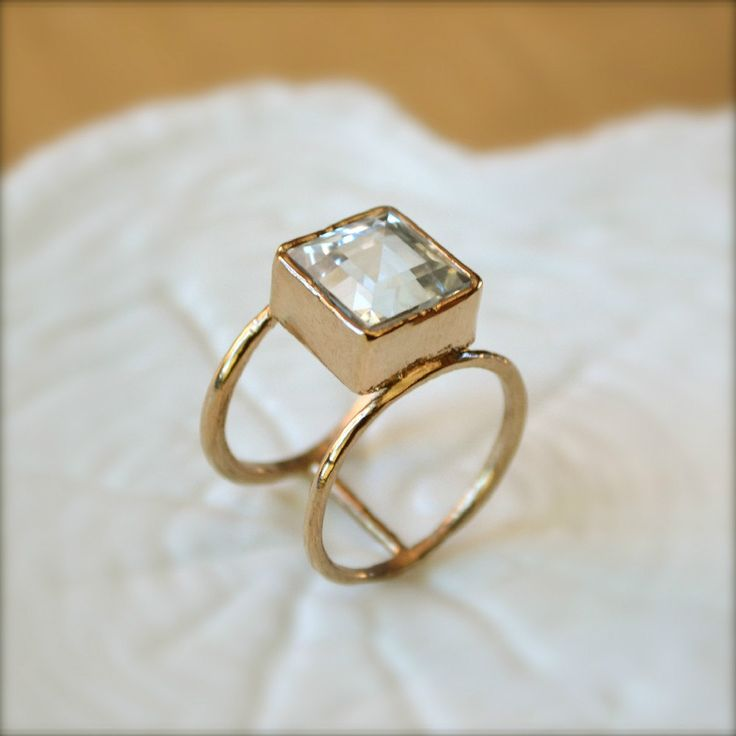 Rings Ideas : Double Wheel Gold Ring With Square Aquamarine
