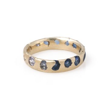 Love, Adorned : POLLY WALES GOLD OMBRE BLUE SAPPHIRE RING
