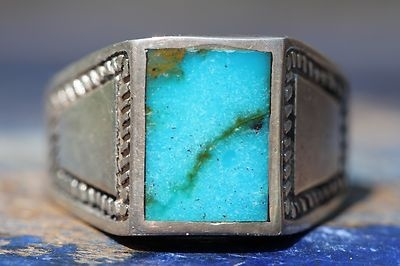 Vintage Signed Southwestern Sterling Silver Deep Blue Turquoise Man's Ring |...