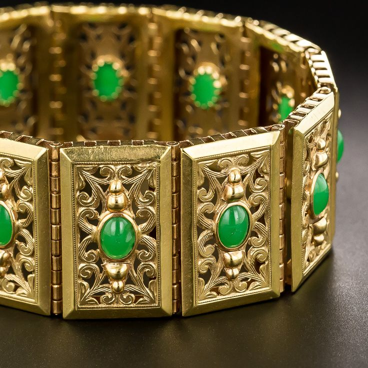 French 18K Gold and Green Stone Bracelet - 40-2-262 - Lang Antiques