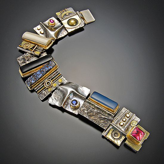 Sandra Freeman bracelet by Nora Larimer mixed metals and stones ~ $1,600.00