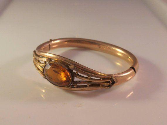 Victorian Bangle Bracelet, Topaz Gemstone, PS Co, Plainville Stock Company, Gold...
