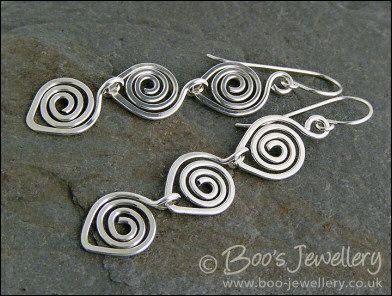Sterling silver polished spiral link earrings - made to order #earringshandmade
