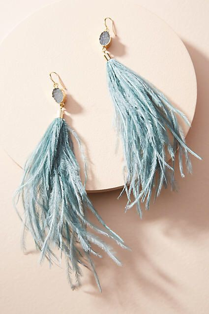These would look stunning with a simple dress. Anthropologie Deanne Feather Drop...