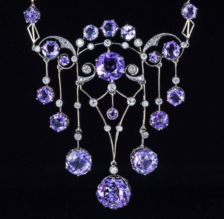 1930s Russian Amethyst Diamond Silver Necklace  | From a unique collection of vi...