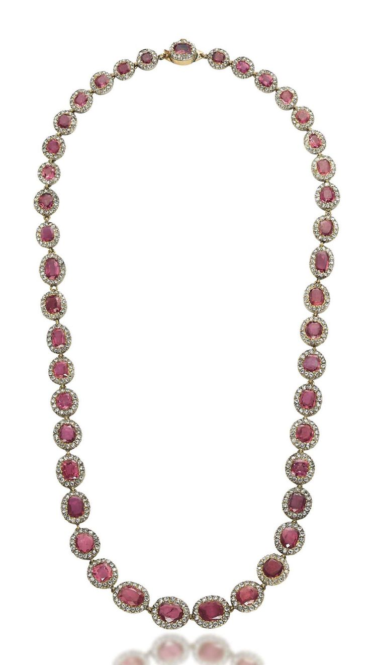 A 19TH CENTURY RUBY AND DIAMOND RIVIÈRE NECKLACE