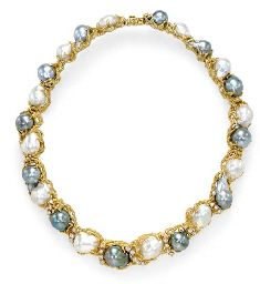 A BAROQUE CULTURED PEARL, DIAMOND AND GOLD NECKLACE, BY ARTHUR KING Designed as ...