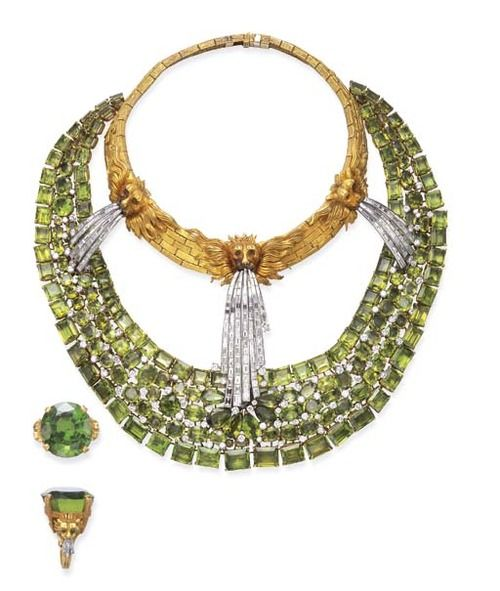 A Highly Important Suite Of Peridot, Diamond And Gold Necklace and Ring By Salva...