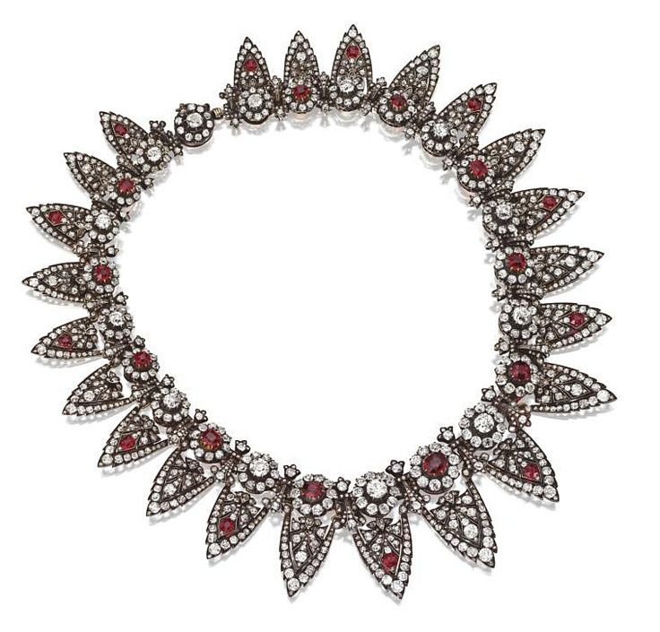 A belle epoque diamond and ruby tiara necklace combination, 1880s, featuring twe...
