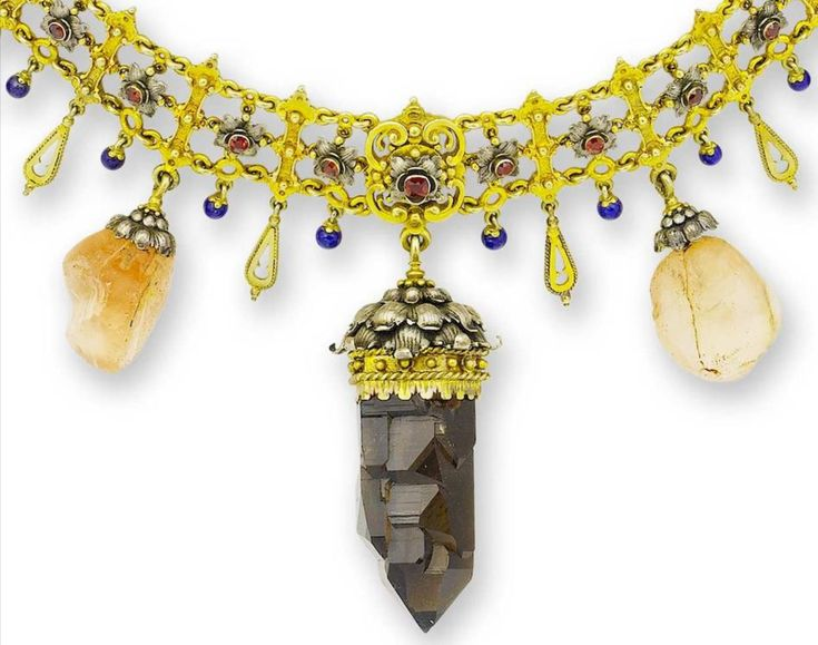 A rare vintage silver gilt, paste and gem-set collar necklace, circa 1920, in th...
