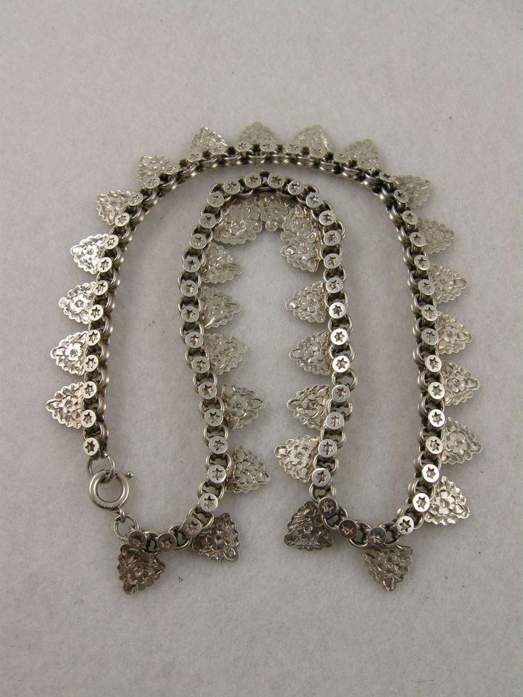 C 1880 Antique Victorian 'Leaf & Stars' Fringe Collar Necklace Chain. A ...