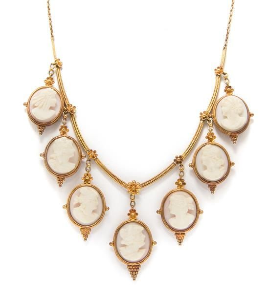 Cameo and gold necklace.