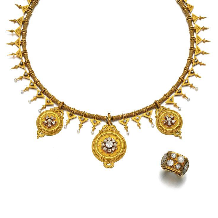 Diamond, pearl and gold necklace, circa 1870.