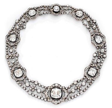 Diamond, silver and gold necklace, circa 1870.