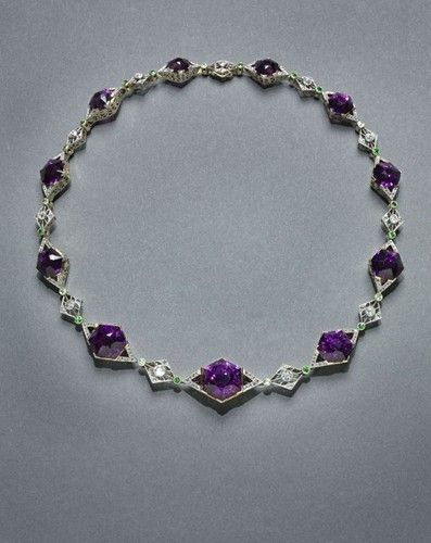 House of Faberge (Russian, 1846-1920). Necklace (amethyst, diamonds, gold, plati...