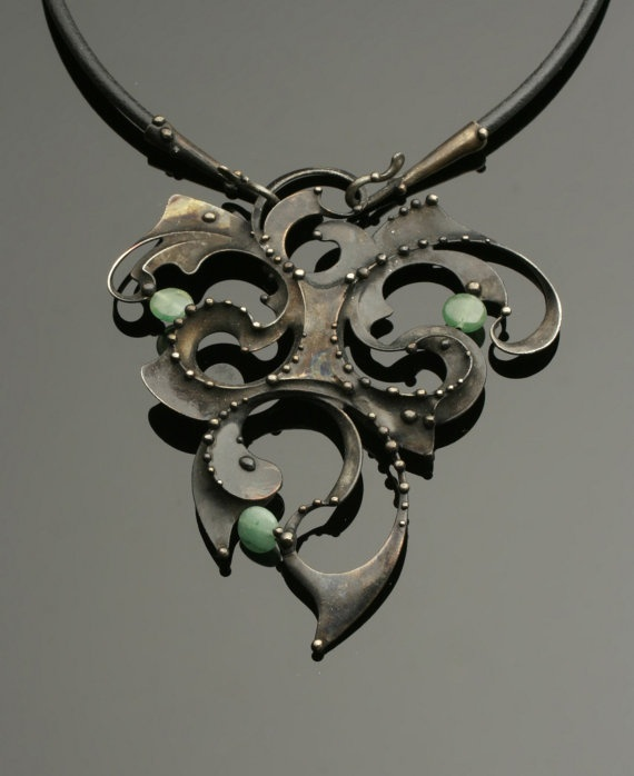 Jade and mixed metal necklace.