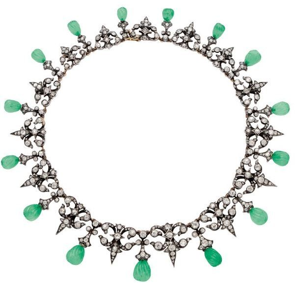 LOT 201 - A Victorian Emerald and Diamond Necklace