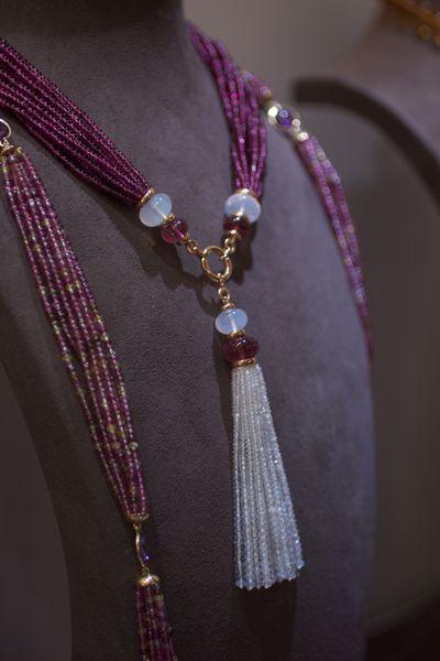 Rubellite and moon quartz tassel necklace.