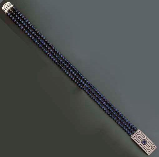 Sapphire bead and diamond necklace, the platinum clasp set with a sapphire and d...