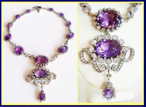 Victorian-Necklace-90ct-Amethyst-17-25ct-Diamond-14k-Gold-Silver-Dutch-4899