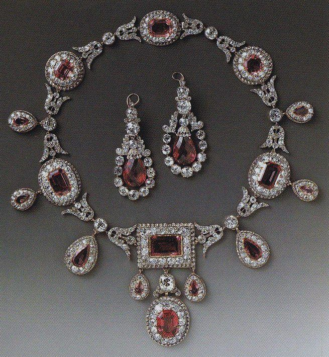 diamond and pink spinel necklace and earrings, made in 1810, bought at auction i...