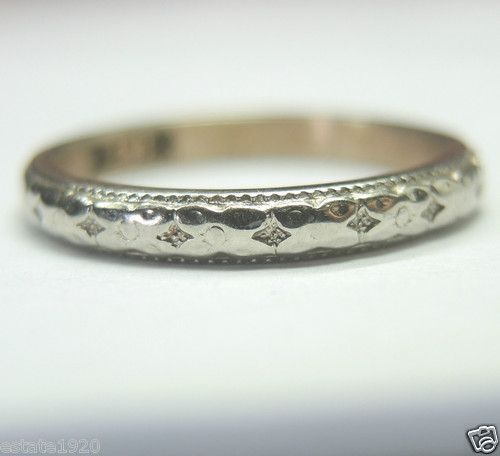 ANTIQUE ART DECO  WEDDING BAND    {International Buyers Are Responsible For Cust...