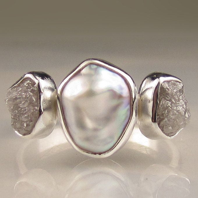 Baroque Pearl and Rough Diamond Ring
