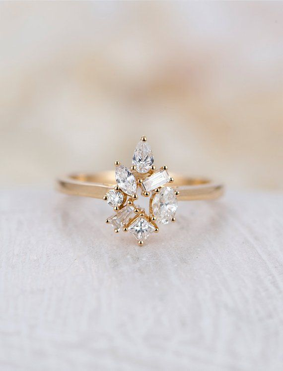 Diamond Cluster ring Flower Unique engagement Ring 14K Gold   Etsy