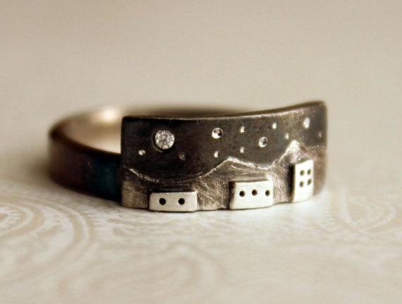 Fine Silver Winter City Night Ring  Custom Size by JwJSilver