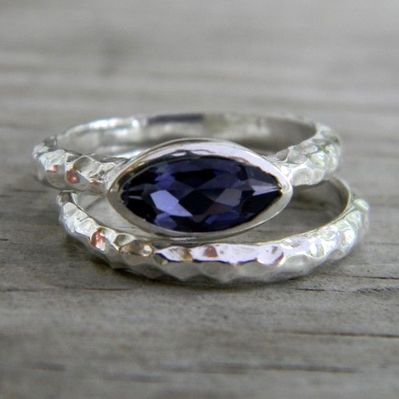 Iolite Slice Ring in Hammered Argentium Silver by onegarnetgirl