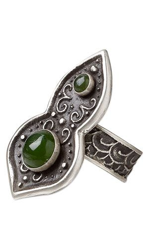 Ring with Nephrite Jade Cabochons and PMC® (Precious Metal Clay)