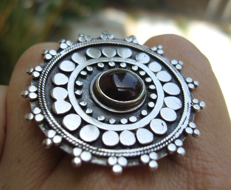 SBJewelry on Etsy - Ornate Tribal Cocktail Ring with Garnet.