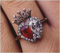 Victoria, Countess Spencer Earl Spencer gave this dual ruby and diamond ring top...