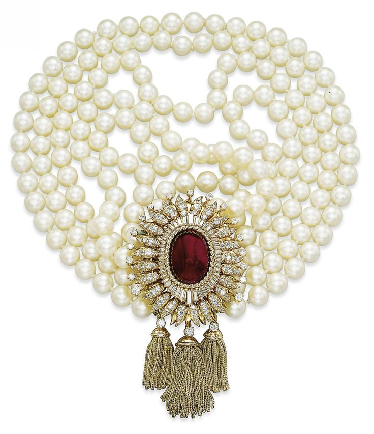 Ruby, diamond and pearl necklace.