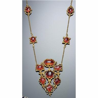 Fire opal necklace.