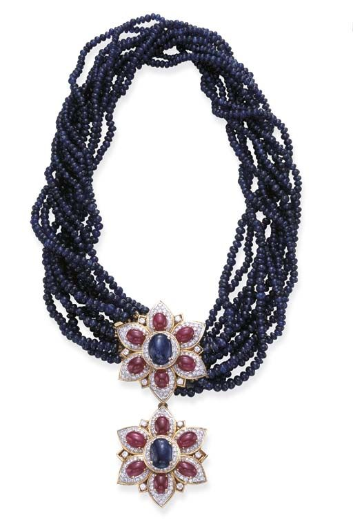 Sapphire, ruby and diamond necklace.