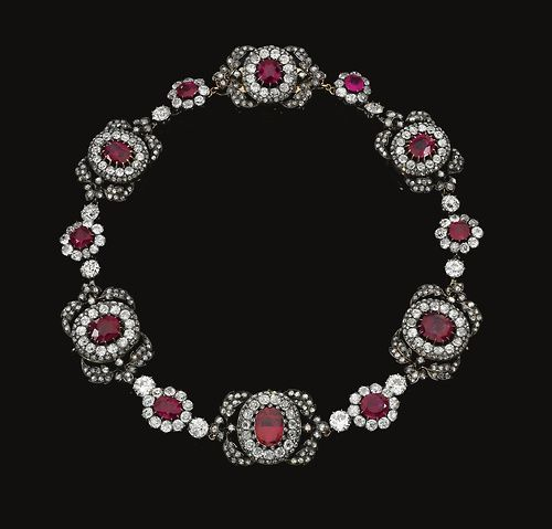 Ruby and diamond necklace.