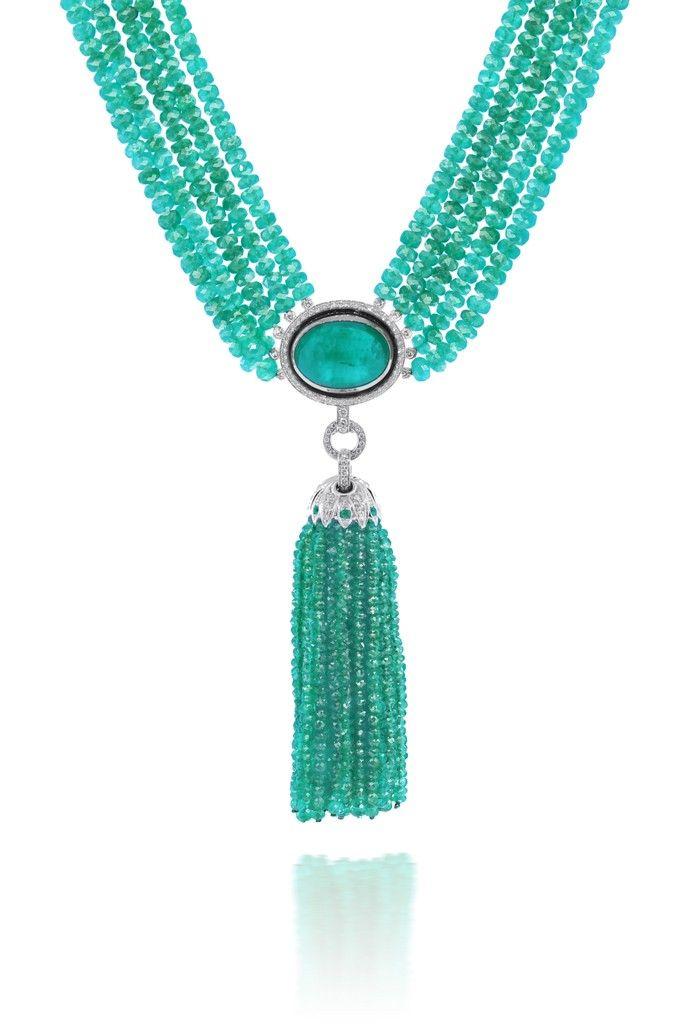 Emerald tassel necklace.