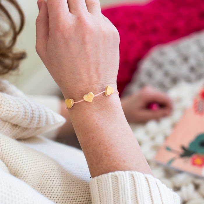Golden Hearts DIY Valentine Jewelry - Flax & Twine