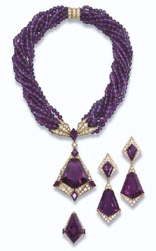 Amethyst and diamond parure.