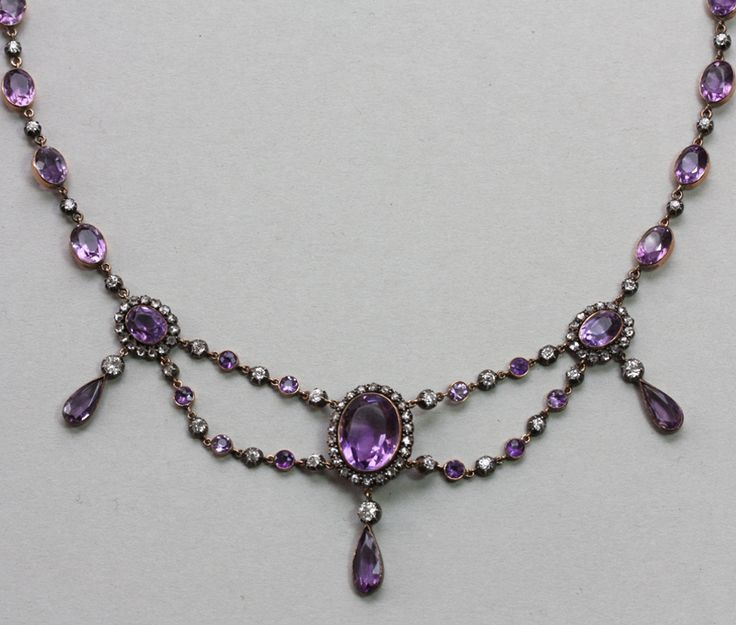 Amethyst, diamond, silver and gold festoon necklace, 21,2 grams, 37 cm original ...