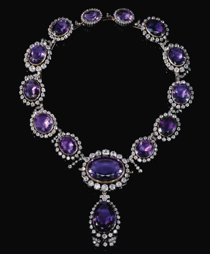 Diamond and amethyst necklace.