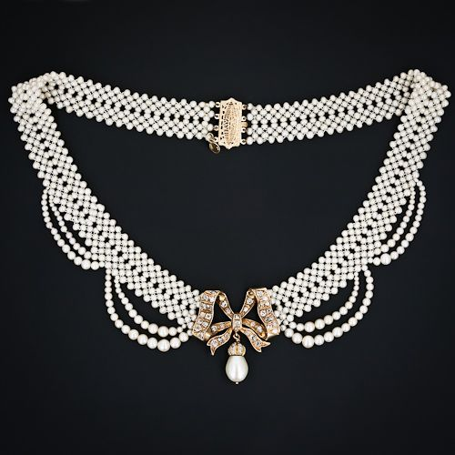 Diamond and pearl necklace.
