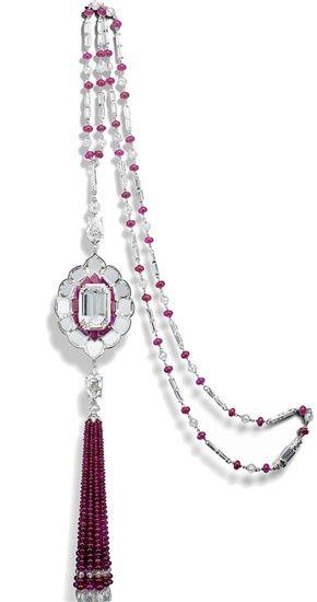 Diamond and ruby sautoir.