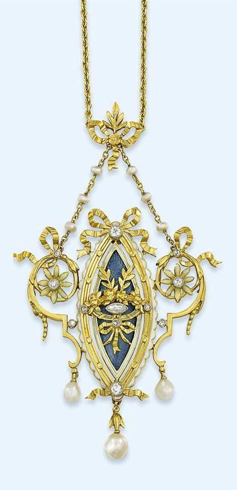 Diamond, pearl and enamel pendant.