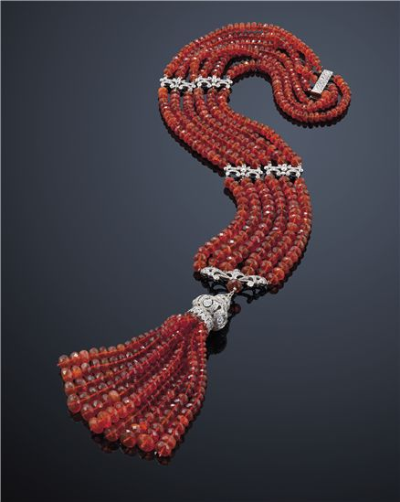 Fire opal and diamond tassel necklace.