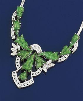 Jade and diamond necklace.