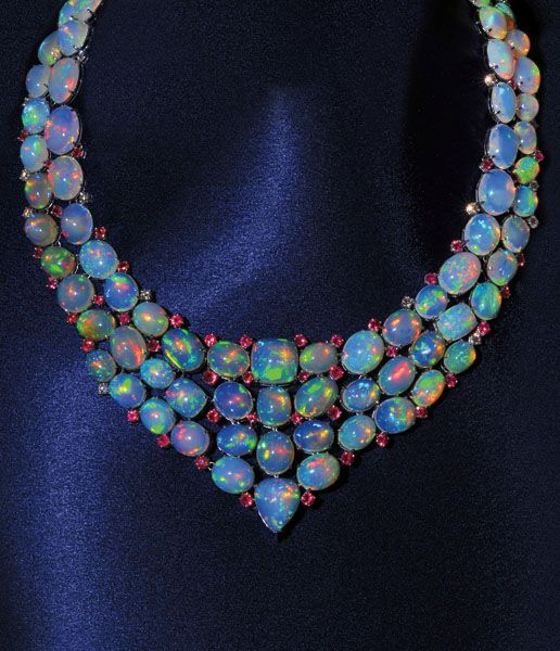 Opal, ruby and diamond necklace.