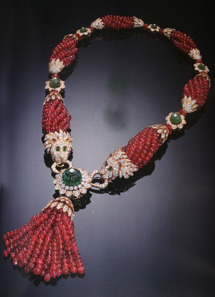 Ruby, diamond and emerald necklace.